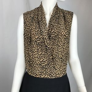 Allison Taylor 100% Silk Leopard Blouse Sleeveless